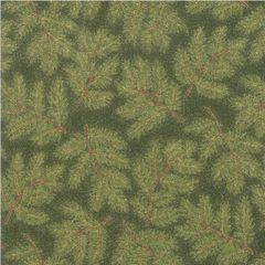Moda Cardinal Song Metallic Green Evergreen Branch Holiday