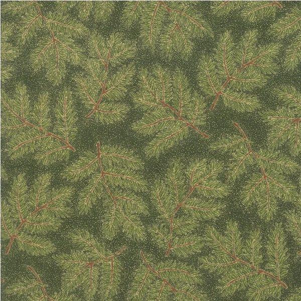 Moda Cardinal Song Metallic Green Evergreen Branch Holiday