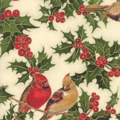 Moda Cardinal Song Metallic Berries Birds Holiday