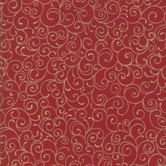 Moda Cardinal Song Metallic Red Gold Scroll Holiday