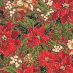 Moda Cardinal Song Metallic Poinsettia Holiday