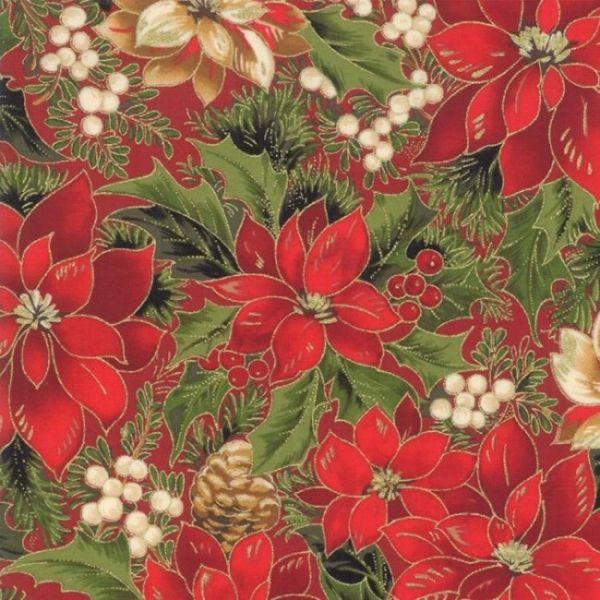 Moda Cardinal Song Metallic Poinsettia Holiday