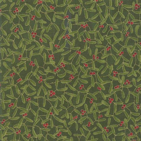Moda Cardinal Song Metallic Green Red Mistletoe Holiday