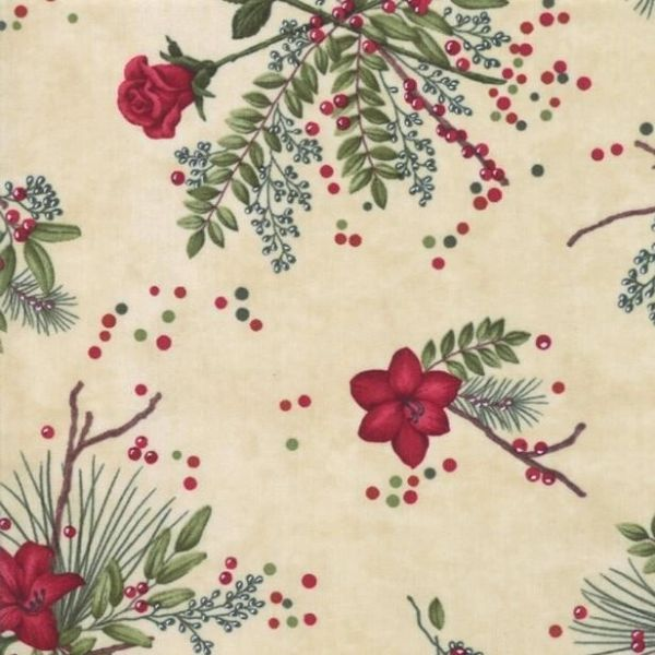 Moda Winter Manor Holiday Twigs Green Red Flowers