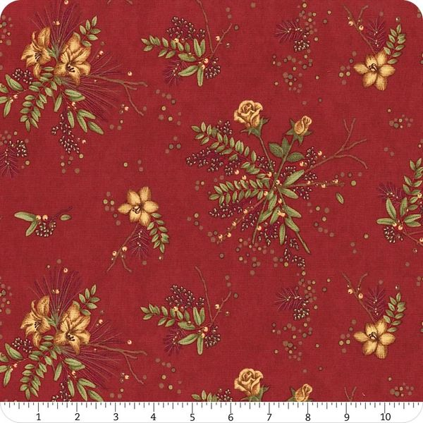 Moda Winter Manor Holiday Red Sprig Floral