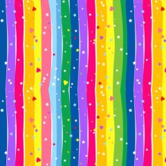 Blank Quilting Emilia's Dream Rainbow Wavy Stripe Hearts Stars
