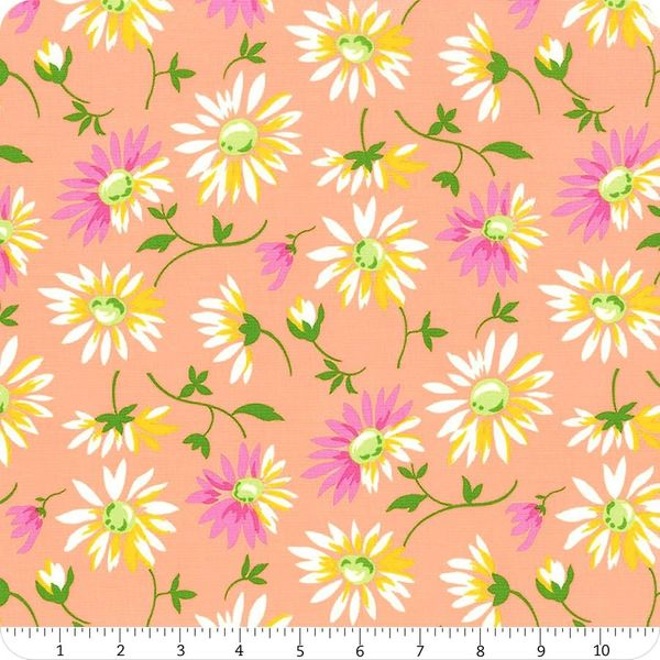 Moda Good Day Lazy Daisy Flower Orange Pink Yellow
