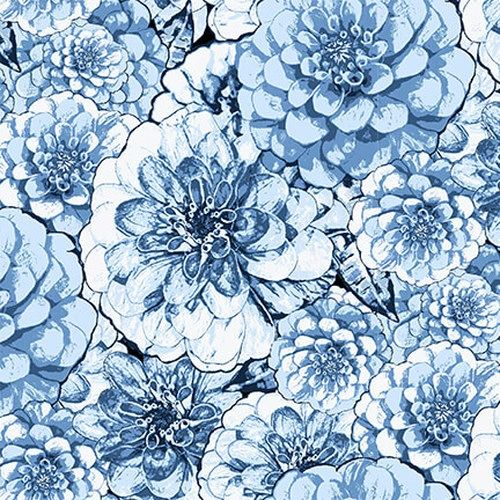 Blank Quilting Once In A Blue Mood Large Floral
