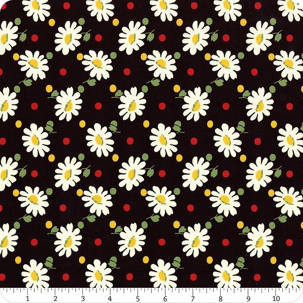 Moda Bubble Pop Black White Daisy Flowers Red Yellow Dots