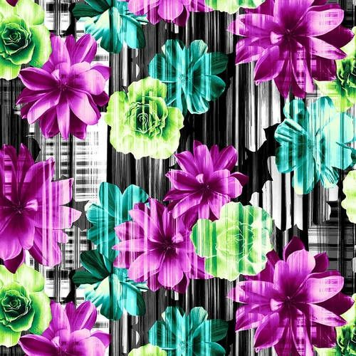 Studio E Beauty In Bloom Flowers Purple Green Black Blue