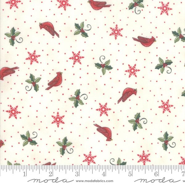 Moda homegrown Holidays cream with red dots birds