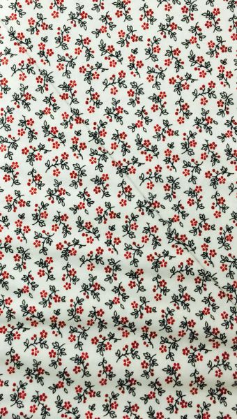 30's Reproduction Fabric - off white/cream background fabric with black and red flowers and leaves