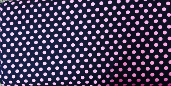 Black Background fabric with hot bright pink polka dots