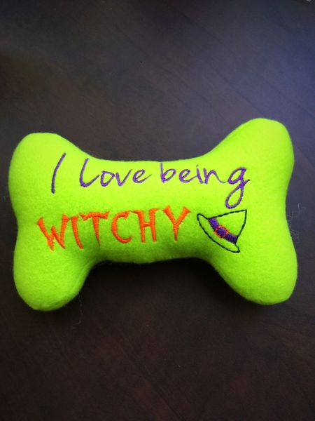 "Dog Toy - Halloween Bone - ""I Love Being Witchy"" Halloween dog toy-"