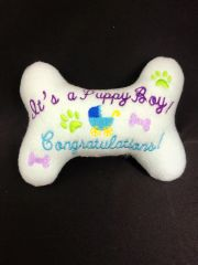 Dog Toy - It's a Puppy Boy! Congratulations! bone""