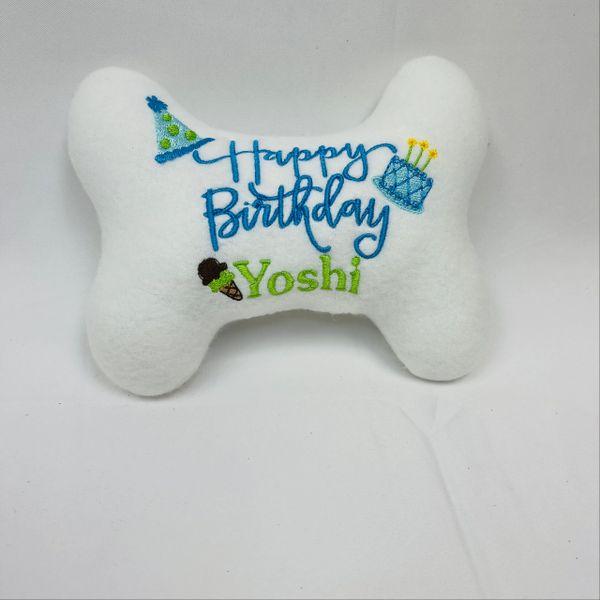 Custom Happy Birthday bone toy