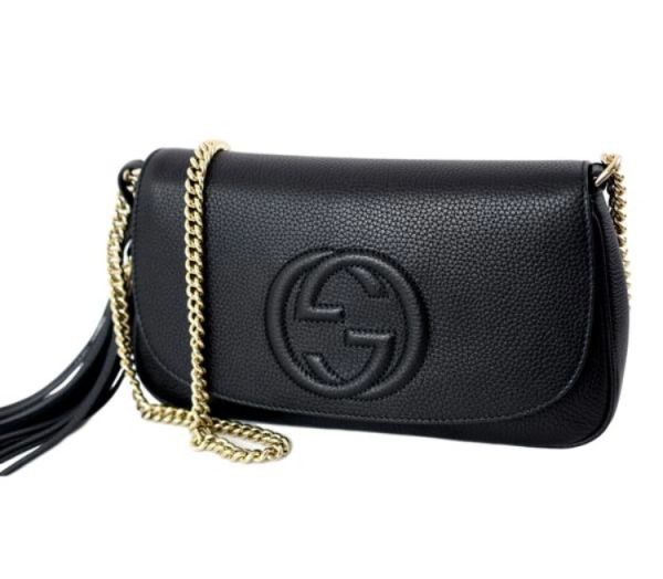 9d369d7a5578 Gucci Soho GG Gold Chain Leather Crossbody , #536224 | Elgie Chic ...