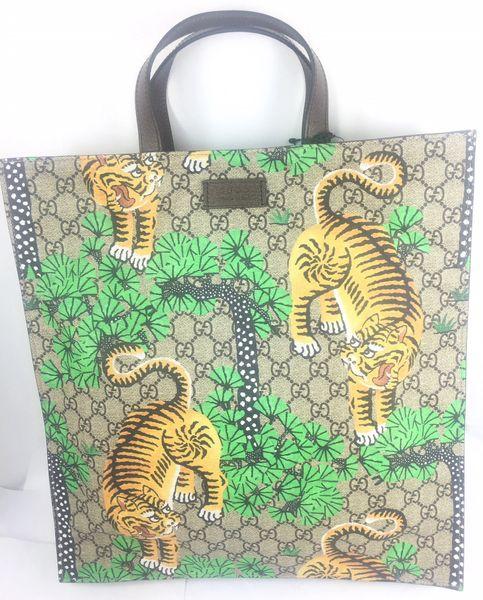 635ad6f2d02f Gucci Bengal Tiger GG Supreme Large Tote w/Strap #450950 | Elgie ...