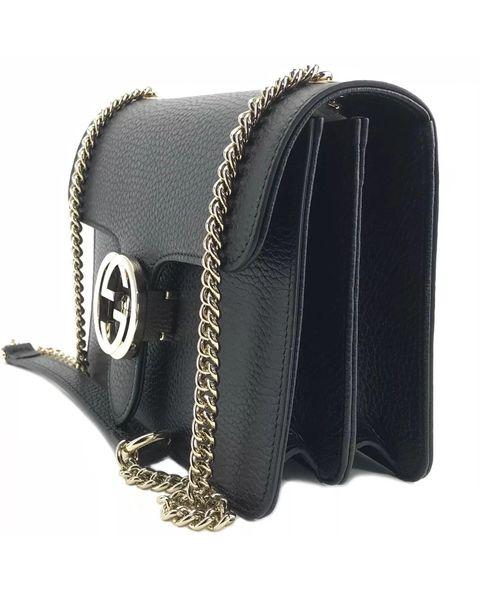 09e21263c5d9 Gucci Black GG Closure Leather Chain Crossbody, #510304   Elgie Chic ...