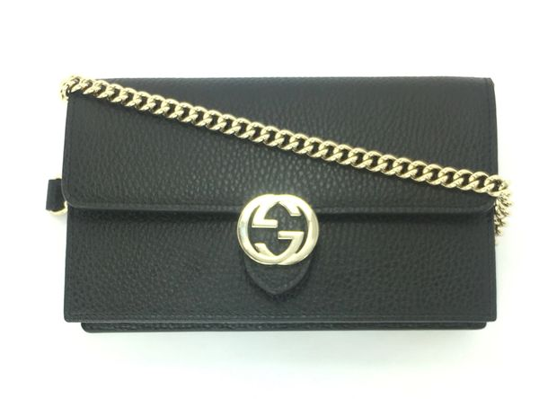 bdafc44d2c53 Gucci GG Black, Red, Gray, or Pink Leather GG Closure Chain Crossbody/  Wallet, #510314 | Elgie Chic Boutique