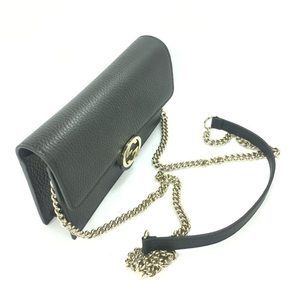 ee83dddd1 Gucci GG Black, Red, Gray, or Pink Leather GG Closure Chain Crossbody/  Wallet, #510314