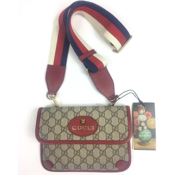 d81eb936a136 Gucci #489617 GG Supreme Totem Feline Head Web Strap Messenger Bag w/Box |  Elgie Chic Boutique