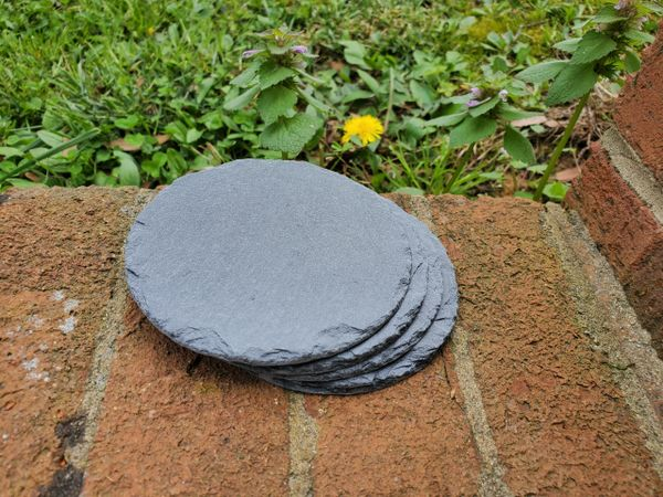 "4"" Premium Grade Round Slate Coasters, 10 pc./Case, FREE SHIPPING WITHIN THE CONTINENTAL U.S. ONLY!!"