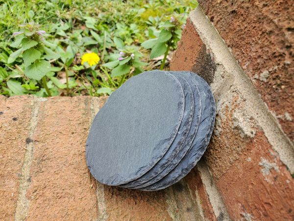 "4"" Premium Grade Round Slate Coasters, 100 pc./Case, FREE SHIPPING WITHIN THE CONTINENTAL U.S. ONLY!!"
