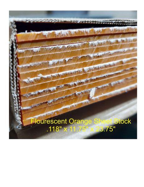 """Flourescent Orange Acrylic Sheet, .118"""" thick"""