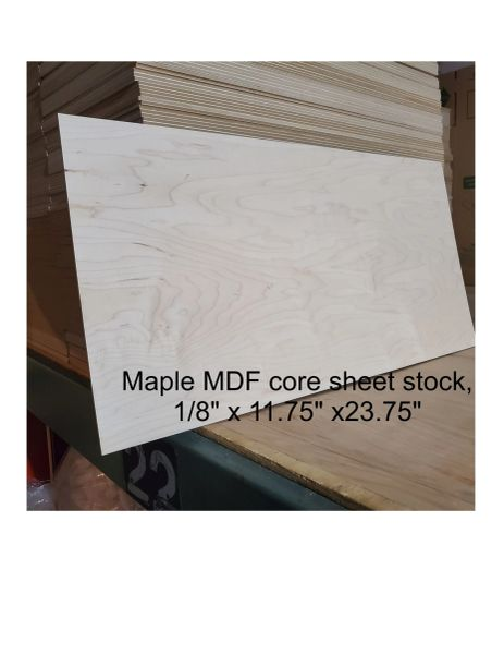 "Maple MDF core wood panels, 1/8"" thick"