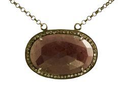 Ruby Pendant with Diamond Surround and Diamond Clasp