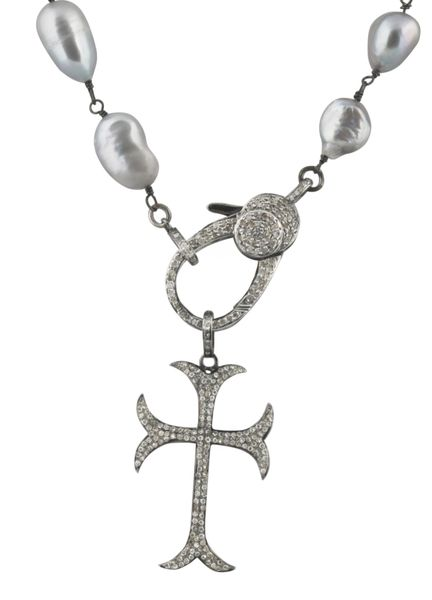 Large Baroque Pearl Necklace with Diamond Clasp and Cross