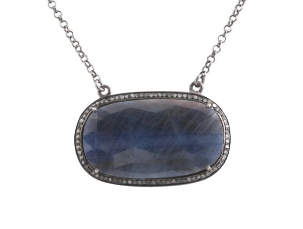 Large Sapphire Oval Pendant with Diamond Surround and Diamond Clasp