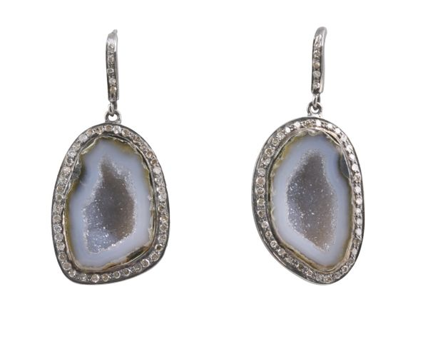 Geode Slices with Diamond Surround on french wire