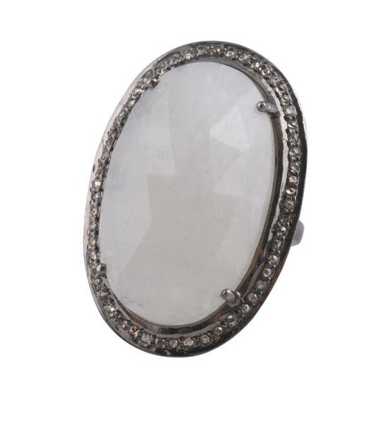 Moonstone Ring with Diamond Surround