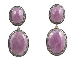 Pink Sapphire Double drop Earrings with diamonds surround