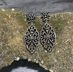 Diamond Earrings set in Oxidized Sterling Silver