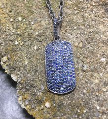 Sapphire Dog Tag w Beautiful oxidized sterling silver chain
