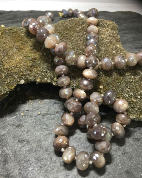 Pink Moonstone Knotted Rondelle beads 30 inches
