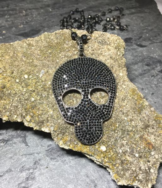 Large Black Spinel Skull on 36 inch black spinel rosary chain