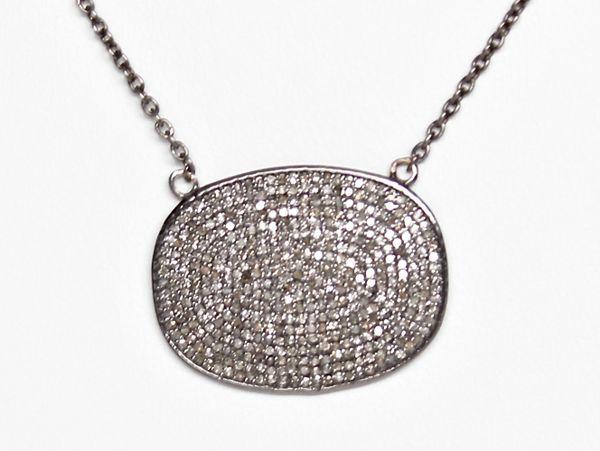 Small Diamond Oval on Diamond oxidized silver chain
