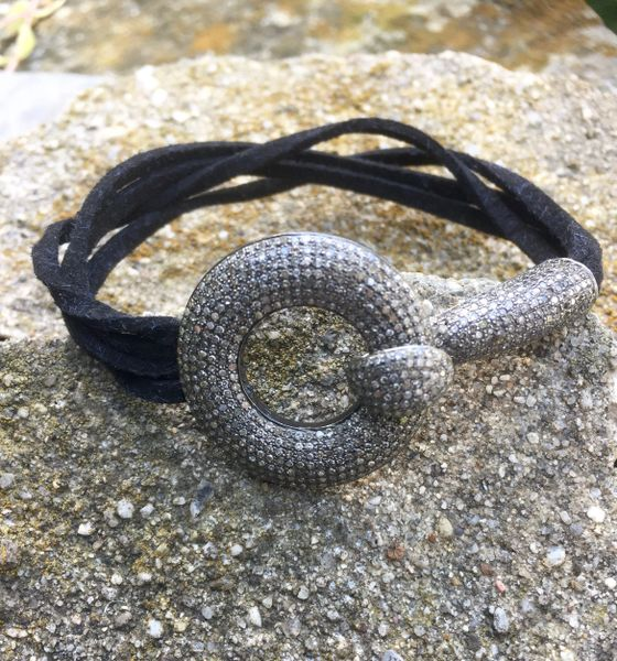 Circle Diamond and Hook Bracelet on Leather