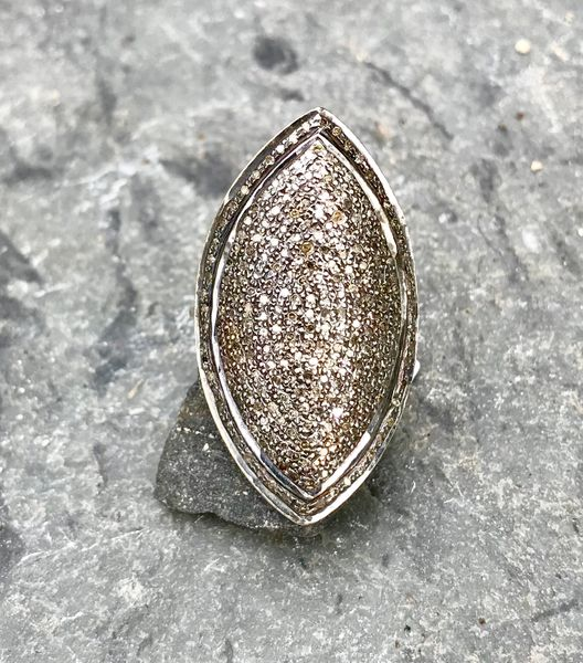 Large Diamond Marquis Shaped Ring