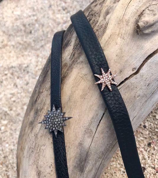 Diamond Starburst Chokers on adjustable leather