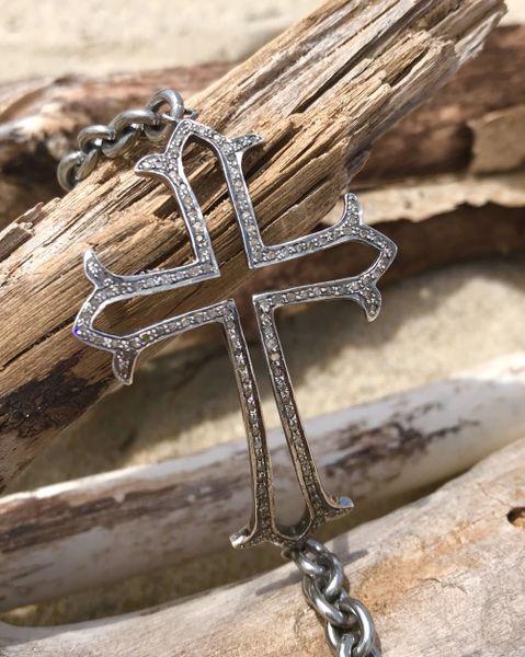 Large Diamond Cross Bracelet on Stainless Band Diamond Clasp