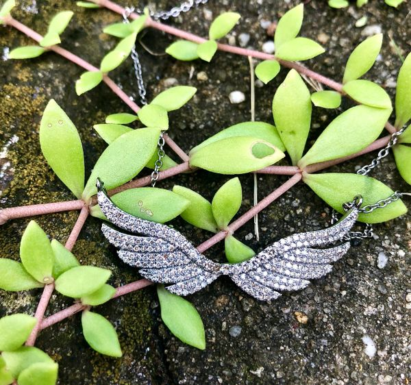 Small Full Diamond Angel Wings Necklace