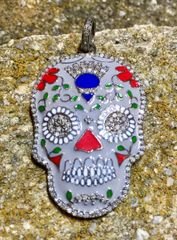 Enamel and Diamond Day of the Dead Pendant on Oxidized Sterling Silver Chain