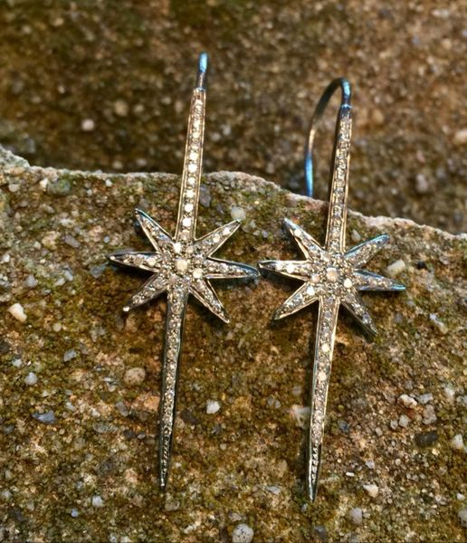 Diamond Starburst Spike Earring in Oxidized Sterling Silver