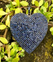 Large Sapphire Heart on Oxidized Sterling Silver Silver Chain