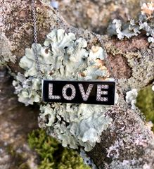Diamond LOVE on Sterling Silver Bar Necklace